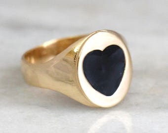 Gold Signet Ring, Pinky Ring, Black And Gold Signet Ring, Gold Filled Ring, Heart Ring, Delicate Everyday Ring, Gift For her.