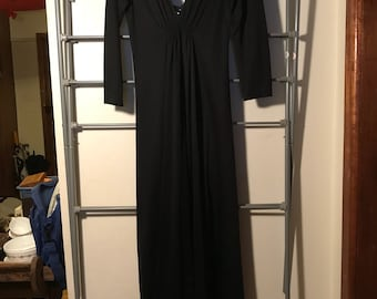 1970's black maxi dress vintage boho angel sleeve ankle length
