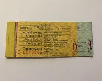 1979 Walt Disney World - Book of Tickets D A (3 Tickets) Mission to Mars, Star Jets, Liberty Square, Cinderella Golden Carrousel