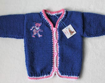 Hand-Knit Dancing Bear/Grateful Dead Bear, Sweater/Cardigan for Babies, Acrylic.