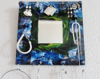 Wall Organizer with mirror blue and green