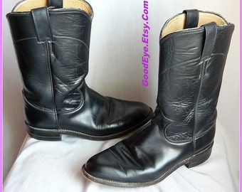Vintage BLACK Roper Boots Womens size 7 Eu 37 .5 Uk 4 .5 /  Mens sz 5 .5C / All Leather Uppers and Sole / JUSTIN Made USA