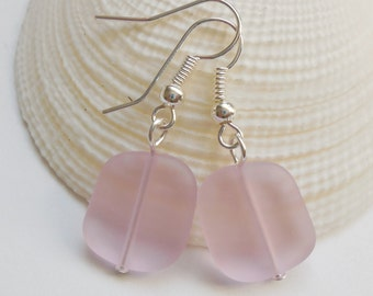 Pink Beach Glass Earrings, Pink Seaglass Earrings, Pink Seaglass Jewelry, Pink Sea Glass Earrings. Sterling Silver Option. FREE US SHIPPING