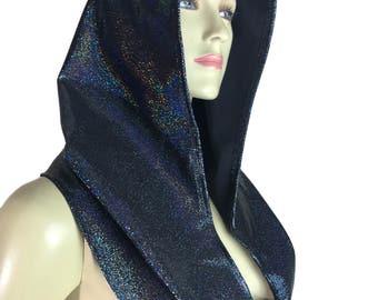 Black Holographic Rave Hood - Festival Hood - Hologram - Spirit Hood