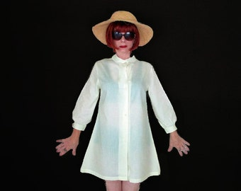 Vintage 1960s Mod Summer Robe -60s Yellow Swimsuit Cover - Mint Condition
