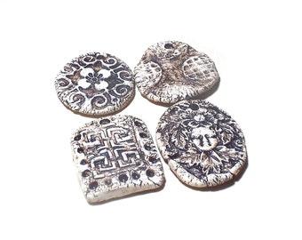 Ceramic Pendants 4 Large Rustic Ancient Antique White Stoneware Fantasy Mix Magical Tribal Ethnic Celtic Mystical Metaphysical Textured Bead