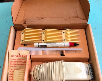 Vintage Manning Bowman Haircut Kit-Clippers With 4 Clipper Guards