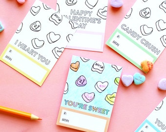 INSTANT DOWNLOAD - Printable Valentine's Day Coloring Cards (6 designs) - 2.5x3.5 - Hand-drawn Sweethearts