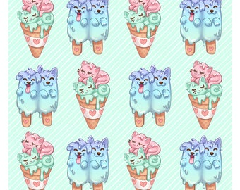 Melty Kittens & Pupsicles Pattern Print