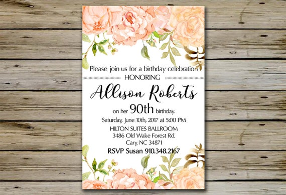 90th birthday invitation peach watercolor blossoms 90 like this item bookmarktalkfo Image collections