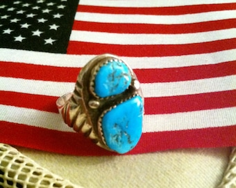 Old Dead Pawn Turquoise Ring S 11