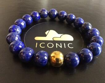 Men's Jewelry: 10mm Blue Lapis Lazuli & Gold Hematite Bracelet