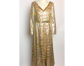 1970's Norman Norell Evening Gown / Vintage Designer Mid Century Metallic Pink Hollywood Gown / Betty Draper