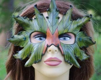 LEATHER green leaf mask