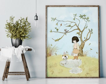 My Lovely Tree in autumn - Girl Art - Holli - Nursery Wall Art - Nursery Decor - Childrens Art - Kids Wall Art - Nursery Art