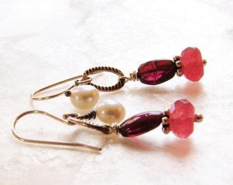 Red Gemstone Earrings Garnet Jewelry Dangle Earrings Red Chalcedony Freshwater Pearl Sterling Silver Garnet Earrings Gemstone Jewelry