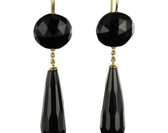 Onyx Art deco 18K yellow gold earrings
