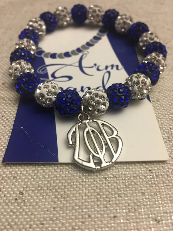 Royal Blue and White Round ZPhiB Shamballa Bracelet