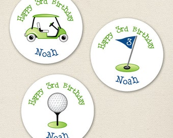 Navy Golf Party - Custom Stickers - Sheet of 12 or 24