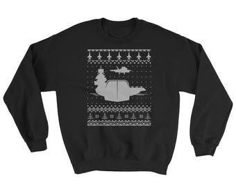Air Craft Carrier Ugly Christmas Sweater Design Sweatshirt