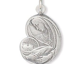 Sterling Silver Miraculous Virgin Mary with Baby Jesus