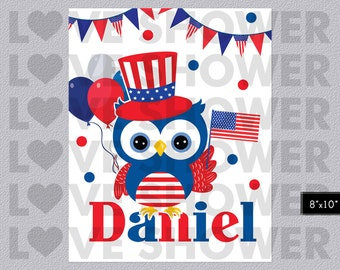 4th of July Owl Poster Name Wall Art, Custom Wall Art Children, Personalized Name, Nursery Room, Digital Printable, Kids Room Sign, LS023