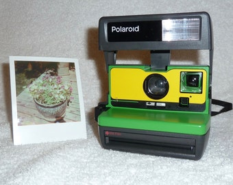 Upcycled Green and Yellow Polaroid 600 OneStep With Close Up And Flash Built-In - Ready To Use