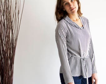 Striped shirt, Casual loose top, Casual friday shirt, Womens ruffle tops, Full sleeve top, Blouses for work