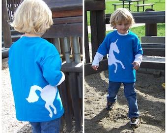 Girls Unicorn Tshirt Wrap Around Fabric Applique