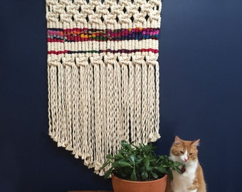 Contemporary Macramé Woven Wall Hanging with Color Block, Modern Woven Wall Hanging with Thick Rope, Large Contemporary Macramé Wall Hanging