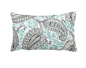 Blue Lumbar Pillow Cover Blue Throw Pillow Cover Navy Blue Pillow Cover Blue Paisley Pillows Floral Pillows Paisley Cushions Toss Pillows