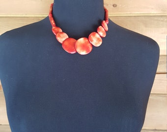 Unique flat red swirly beaded chocker