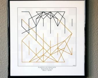 Chess Player Gift-Famous Chess Game Art Print- Karpov vs Unzicker 1974