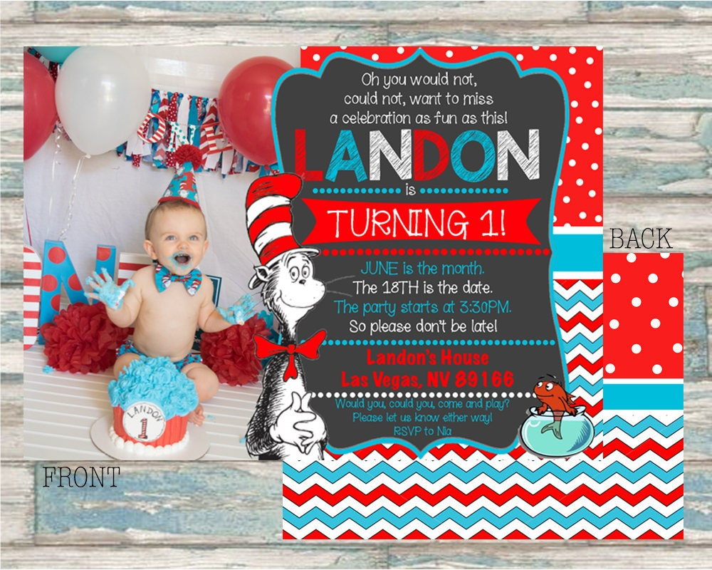 Dr. Suess Printable Invitations Cat in the Hat Party Invites