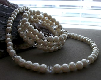 SALE Pearl & Clear Beaded Necklace and Memory Wire Beaded Bracelet Set
