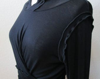 black color hoodie with build in belt decoration plus made in USA (vn111)