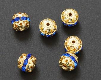 Gold & Sapphire Rhinestone 10mm Beads (6)