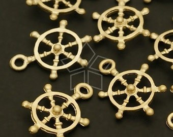 PD-175-MG / 4 Pcs - Mini Wheel charm, Matte Gold Plated Pewter / 12mm x 18mm
