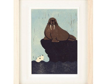 WALRUS AND SEAL Linocut Reproduction Art Print: 4 x 6, 5 x 7
