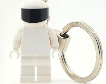 The Stig Minifigure Keychain Custom Made Using LEGO Parts