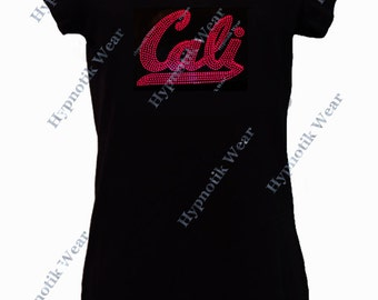 "Women's Rhinestud T-Shirt "" Neon Cali "" in S, M, L, 1x, 2x, 3x Neon Colors"