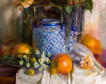 Tea and oranges all the way from China - original oil painting, alla prima oil painting, one of a kind