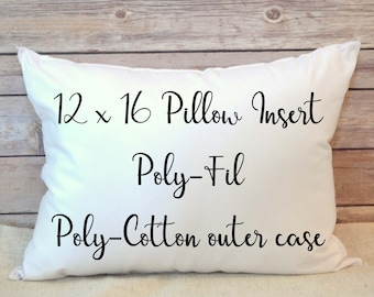 Pillow Insert, Stuffing 12x16 Poly Fil Insert, 12 x 16 pillow supply, blank insert, white insert, poly cotton