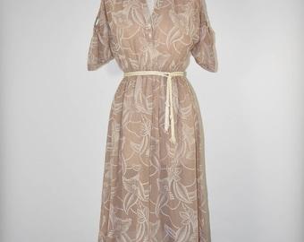70s cotton gauze dress / 1970s floral print dress / beige bohemian shirtdress