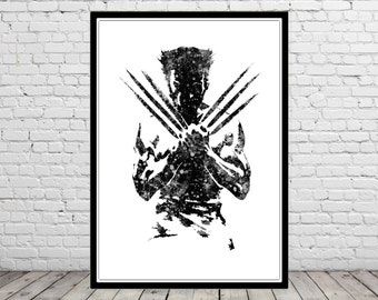 Wolverine poster, Wolverine Print, watercolor Wolverine, Hero poster, wolverine wall art, Wolverine abstract print, Comic art