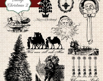 Vintage Christmas 2, digital clip art and photoshop brushes: Commercial and Personal Use No.7