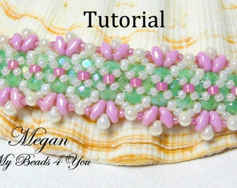 Bracelet Beading Tutorial Pattern,Beadwork Pattern,Beaded Jewelry Pattern, Seed Bead Tutorial,Superduo Beading Pattern,Tutorial, MyBeads4You