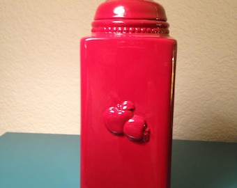 Red apple kitchen canister