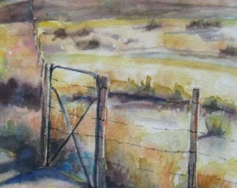 Original Watercolor landscape painting,western art,home decor, wall decor,southwest desert art,endless fence watercolor,landscape watercolor