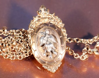 Antique Locket Gold And Silvery Tone Locket Necklace Floral Locket Necklace Baroque Necklace Victorian French Jewelry